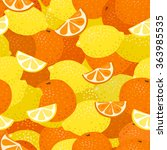 lemons and oranges seamless... | Shutterstock .eps vector #363985535