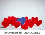 Blue Heart And Many Red Hearts...