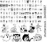 halloween set of black sketch.... | Shutterstock .eps vector #36400807
