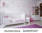 close up of white crib in cozy... | Shutterstock . vector #364009349
