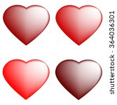set of four red hearts  white... | Shutterstock .eps vector #364036301