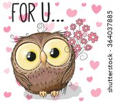 valentine card cute cartoon owl ... | Shutterstock .eps vector #364037885