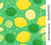 lemons and limes seamless... | Shutterstock .eps vector #364045991