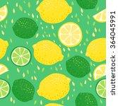 lemons and limes seamless... | Shutterstock .eps vector #364045991