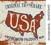 vintage label of  the usa map... | Shutterstock .eps vector #364055645