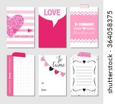 set of love cards with pink... | Shutterstock .eps vector #364058375