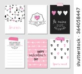set of love cards with pink... | Shutterstock .eps vector #364058447