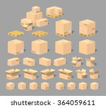 cardboard boxes and pallets set.... | Shutterstock .eps vector #364059611