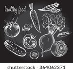 hand drawn set of vegetables  ... | Shutterstock .eps vector #364062371