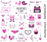 cute valentine's day and love... | Shutterstock .eps vector #364064129
