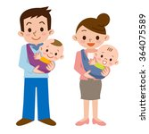 father and mother and baby | Shutterstock .eps vector #364075589