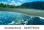 boats on the beach of black... | Shutterstock . vector #364075631
