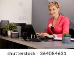 blonde businesswoman sitting at ... | Shutterstock . vector #364084631