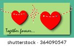 green valentine's card with two ... | Shutterstock .eps vector #364090547