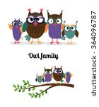 owl family. owl mother  father... | Shutterstock .eps vector #364096787