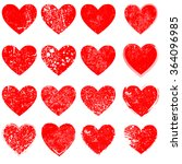set of hearts . grunge stamps... | Shutterstock .eps vector #364096985