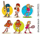 kids playing various sports | Shutterstock .eps vector #364115021