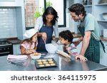 happy family cooking biscuits... | Shutterstock . vector #364115975
