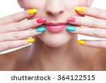 colored manicure  woman face... | Shutterstock . vector #364122515