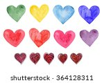 watercolor heart clip art .... | Shutterstock . vector #364128311