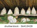 row of vintage beehives in... | Shutterstock . vector #36413428