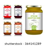 glass jar with with jam ... | Shutterstock .eps vector #364141289