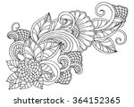 black and white floral doodle....