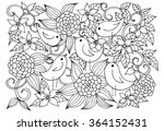 black and white floral doodle.... | Shutterstock .eps vector #364152431