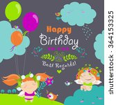happy birthday card with cute... | Shutterstock .eps vector #364153325