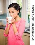 peaceful brunette holding white ... | Shutterstock . vector #364158281