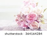 fabric roses on wooden... | Shutterstock . vector #364164284