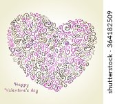 decorative heart with hand... | Shutterstock .eps vector #364182509