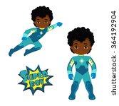 cute boy superhero in flight... | Shutterstock . vector #364192904