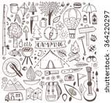 Camping doodle set. Vector sketch illustration. Travel items.
