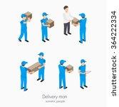 set of delivery service man... | Shutterstock .eps vector #364222334