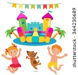jumping kids and dog and bouncy ... | Shutterstock .eps vector #364230689