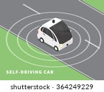 self driving car flat isometric ... | Shutterstock .eps vector #364249229
