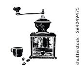 black vintage coffee grinder | Shutterstock .eps vector #364249475