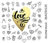 i love you doodle icon set...   Shutterstock .eps vector #364250135