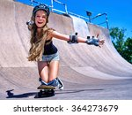 sport girl rides his skateboard ... | Shutterstock . vector #364273679