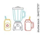 kitchen blender and two mason... | Shutterstock .eps vector #364273757