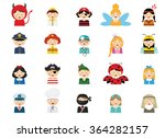 kids wearing different costumes ... | Shutterstock .eps vector #364282157