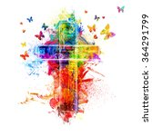 a cross created by colorful... | Shutterstock . vector #364291799