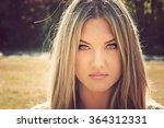 beautiful long haired hippie... | Shutterstock . vector #364312331