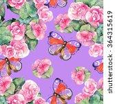 begonia flower  butterfly ... | Shutterstock . vector #364315619