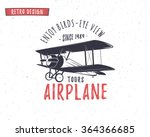 airplane emblem. biplane label. ... | Shutterstock .eps vector #364366685