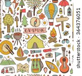 camping doodle seamless pattern.... | Shutterstock .eps vector #364376051