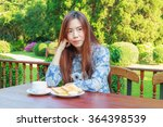 asia girl teenage and breakfast ... | Shutterstock . vector #364398539