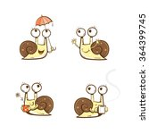 Cute Cartoon Snails Set. Vecto...