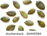 pumpkin seeds on an isolated bg | Shutterstock . vector #36440584